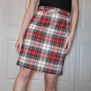Vintage red, black & white plaid mini pencil skirt